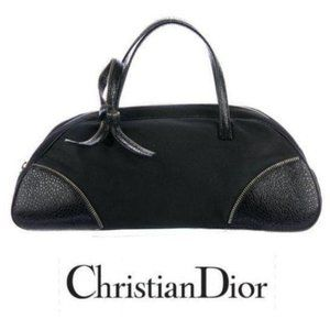 CHRISTIAN DIOR Zipper Leather Bow bowling bag